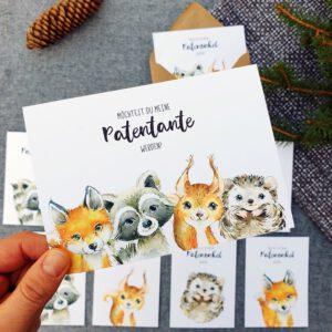 Postkarte Waldtiere Aquarell Patentante Patenonkel fragen